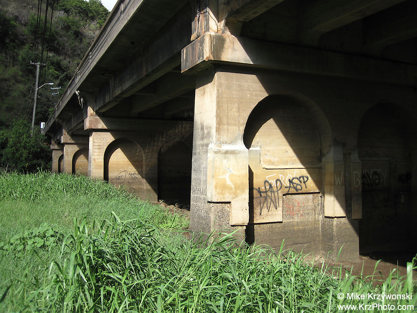 View Under Bridge at Waimea Bay, North Shore, Oahu, Hawaii