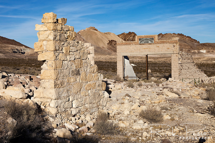 Porter Brothers Store building and other ruins along the main street in Rhyolite, Nevada
