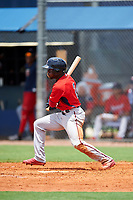 GCL Twins designated hitter Akil Baddoo (2) reaches on an error during the first game of a doubleheader against the GCL Rays on July 18, 2017 at Charlotte Sports Park in Port Charlotte, Florida.  GCL Twins defeated the GCL Rays 11-5 in a continuation of a game that was suspended on July 17th at CenturyLink Sports Complex in Fort Myers, Florida due to inclement weather.  (Mike Janes/Four Seam Images)