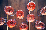 USA, Oregon, Willamette Valley, poured glasses of Brut Rose at Soter Winery, Carlton