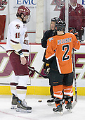John Gravallese instructs the captains Brian Boyle 10 of Boston College and Michael Hodgson 2 of Bowling Green. The Eagles of Boston College defeated the Falcons of Bowling Green State University 5-1 on Saturday, October 21, 2006, at Kelley Rink of Conte Forum in Chestnut Hill, Massachusetts.<br />