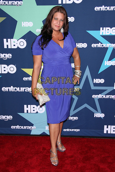 Karen Gravano.The Premiere for the Final Season of HBO's 'Entourage' at the Beacon Theatre, New York, NY, USA. .July 19th, 2011.full length purple dress silver clutch bag hand on bracelets hip.CAP/LNC/TOM.©TOM/LNC/Capital Pictures.