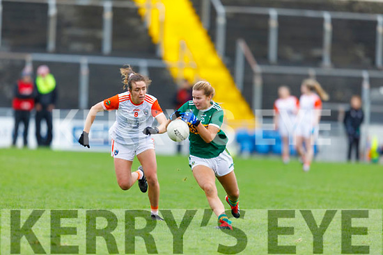 Kerrys Andrea Murphy attempts to get past Tiarna Grimes of Armagh in the Div 2 game in  the Lidl Ladies National Football league