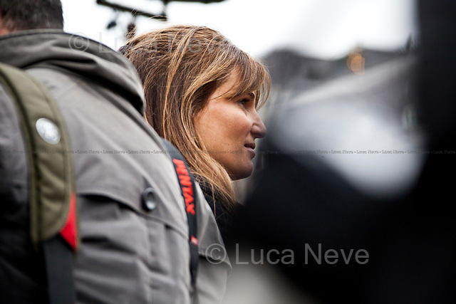 Jemima Khan (British writer, Journalist and campaigner).<br /> <br /> London, 08/10/2011. Today Trafalgar Square was the stage of the &quot;Antiwar Mass Assembly&quot; organised by The Stop The War Coalition to mark the 10th Anniversary of the invasion of Afghanistan. Thousands of people gathered in the square to listen to speeches given by journalists, activists, politicians, trade union leaders, MPs, ex-soldiers, relatives and parents of soldiers and civilians killed during the conflict, and to see the performances of actors, musicians, writers, filmmakers and artists. The speakers, among others, included: Jeremy Corbin, Joe Glenton, Seumas Milne, Brian Eno, Sukri Sultan and Shadia Edwards-Dashti, Hetty Bower, Mark Cambell, Sanum Ghafoor, Andrew Murray, Lauren Booth, Kate Hudson, Sami Ramadani, Yvone Ridley, Mark Rylance, Dave Randall, Roger Lloyd-Pack, Rebecca Thorn, Sanasino al Yemen, Elvis McGonagall, Lowkey (Kareem Dennis), Tony Benn, John Hilary, Bruce Kent, John Pilger, Billy Hayes, Alison Louise Kennedy, Joan Humpheries, Jemima Khan, Julian Assange, Lindsey German, George Galloway. At the end of the speeches a group of protesters marched toward Downing Street where after a peaceful occupation the police made some arrests.