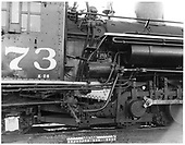 Close view of engineer side of D&amp;RGW #473 K-28 showing reverse gear cylinder.<br /> D&amp;RGW  Durango, CO  Taken by Payne, Andy M. - 12/13/1968