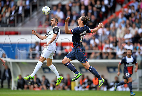 31.08.2013. Paris, France. French League football. Paris St Germain versus Guingamp Aug 31st.  Jonathan Martins (gui) - Zlatan Ibrahimovic (psg)