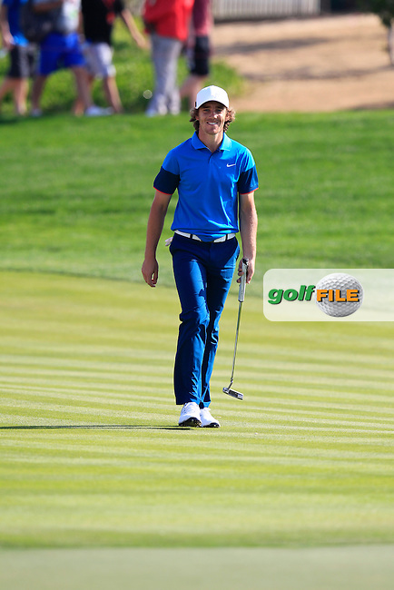 Tommy Fleetwood (ENG) walks to the 1st green during Friday's Round 2 of the Abu Dhabi HSBC Golf Championship 2015 held at the Abu Dhabi Golf Course, United Arab Emirates. 16th January 2015.<br /> Picture: Eoin Clarke www.golffile.ie