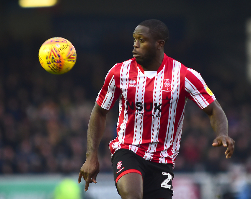 Lincoln City's John Akinde<br /> <br /> Photographer Andrew Vaughan/CameraSport<br /> <br /> The EFL Sky Bet League Two - Lincoln City v Mansfield Town - Saturday 24th November 2018 - Sincil Bank - Lincoln<br /> <br /> World Copyright © 2018 CameraSport. All rights reserved. 43 Linden Ave. Countesthorpe. Leicester. England. LE8 5PG - Tel: +44 (0) 116 277 4147 - admin@camerasport.com - www.camerasport.com