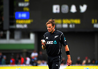 Tim Southee prepares to bowl during the One Day International cricket match between the NZ Black Caps and Pakistan at the Basin Reserve in Wellington, New Zealand on Saturday, 6 January 2018. Photo: Dave Lintott / lintottphoto.co.nz