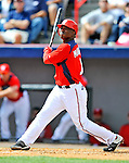 4 March 2011: Washington Nationals outfielder Nyjer Morgan in action during a Spring Training game against the Atlanta Braves at Space Coast Stadium in Viera, Florida. The Braves defeated the Nationals 6-4 in Grapefruit League action. Mandatory Credit: Ed Wolfstein Photo
