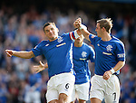 Lee McCulloch and David Templeton celebrate after scoring a brace of goals each