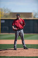 Arizona Diamondbacks relief pitcher Josh Taylor (50) looks to his catcher for the sign during a Minor League Spring Training intrasquad game at Salt River Fields at Talking Stick on March 12, 2018 in Scottsdale, Arizona. (Zachary Lucy/Four Seam Images)