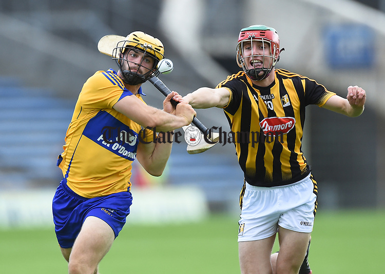 Jason Mc Carthy of Clare in action against Alan Murphy of Kilkenny during their Intermediate All-Ireland final at Thurles. Photograph by John Kelly.