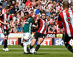 Florian Jozefzoon of Brentford and Jack O'Connell of Sheffield Utd during the English Championship League match at Bramall Lane Stadium, Sheffield. Picture date: August 5th 2017. Pic credit should read: Simon Bellis/Sportimage
