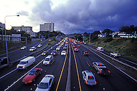 Traffic at dusk on H2 Freeway in Honolulu
