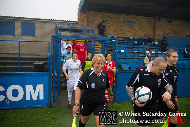 Leeds United Ladies 1 Nottingham Forest Ladies 1, 13/11/2011. Throstle Nest, FA Premier League National Division. Leeds United Ladies FC players (in white) and match officials taking to the pitch at the Throstle Nest, Farsley, West Yorkshire, on the day the club played host to Nottingham Forest Ladies FC in an FA Premier League National Division fixture. The match ended in a one-all draw, watched by fewer than 50 spectators at the club's regular home ground. Formed in 1989, Leeds United Ladies has been one of England's top women's sides for most of the last ten years and played in the top winter league for ladies' teams. Photo by Colin McPherson.