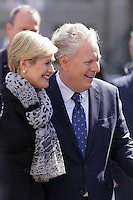 Former Quebec Premier Jean Charest and his  wife (L)<br />  attend<br /> the funerals of Jean Lapierre, former politician and media,<br />  April 16, 2016 in Outremont.<br /> <br /> Photo : Pierre Roussel - Agence Quebec Presse<br /> <br /> <br /> <br /> <br /> <br /> <br /> <br /> <br /> .