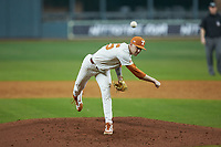 Texas Longhorns starting pitcher Coy Cobb (45) delivers a pitch to the plate against the Missouri Tigers in game eight of the 2020 Shriners Hospitals for Children College Classic at Minute Maid Park on March 1, 2020 in Houston, Texas. The Tigers defeated the Longhorns 9-8. (Brian Westerholt/Four Seam Images)