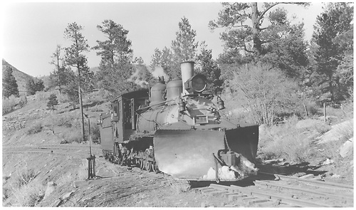 RGS #41 with wedge pilot snowplow at Franklin Junction.<br /> RGS  Franklin Junction, CO  Taken by Peyton, Ernie S. - 3/1948