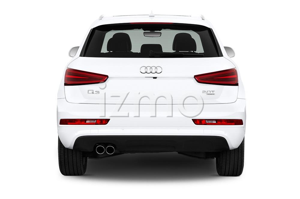 Straight rear view of 2015 Audi Q3 Premium Plus 5 Door SUV stock images