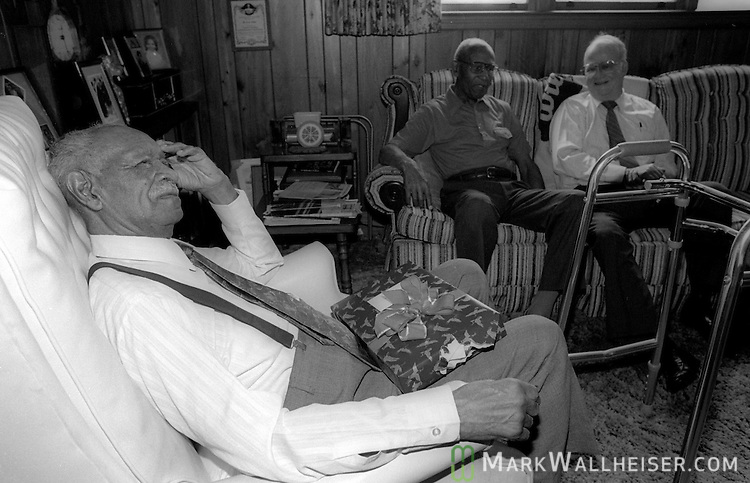 Legendary FAMU football coach Alonzo Smith (Jake) Gaither relaxes with a birthday present on his lap at  home in Tallahassee on his 88th birthday April 11, 1991.  Gaither compiled a 203-36-4 record, a .844 winning percentage  from 1945 till 1969.  Gaither died two years later at 90.