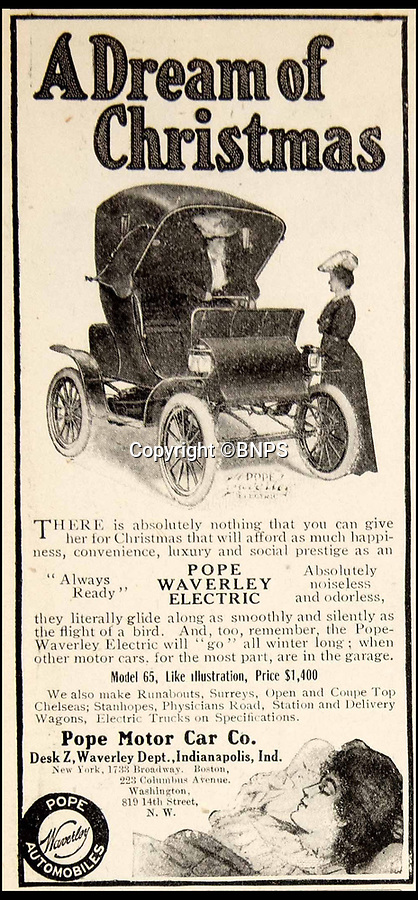 BNPS.co.uk (01202 558833)Pic: PhilYeomans/BNPS<br /> <br /> The very non-pc advertising was targeted at women because of the electric cars cleanliness and ease of use.<br /> <br /> Back to the Future - One of the pioneers of electric motoring recreated at Blenheim Palace.<br /> <br /> One Britain's first electric cars, gifted in 1904 to 'Dollar Princess' Consuelo Vanderbilt has gone on display at Blenheim Palace in Oxfordshire, birthplace of Sir Winston Churchill.<br /> <br /> This vintage 1901 Waverley Electric car is almost identical to one owned by the 9th Duchess of Marlborough at the start of the 20th century.<br /> <br /> She was gifted an electric car by her mother at a time when electric and steam cars outnumbered petrol vehicles by almost four to one.  <br /> <br /> The booming electric car industry was killed off by Henry Ford's introduction of the much cheaper Model T in 1908 - signalling a dependence on petroleum that would last for over 100 years.<br /> <br /> The early electric cars were steered by by a tiller, had a range of 65 miles, travelled at up to 18mph and cost about £1,000, which equates to £25,000 today.