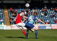 Fleetwood Town's Wes Burns competing with Wycombe Wanderers' Alex Samuel <br /> <br /> Photographer Andrew Kearns/CameraSport<br /> <br /> The EFL Sky Bet League One - Wycombe Wanderers v Fleetwood Town - Saturday 4th May 2019 - Adams Park - Wycombe<br /> <br /> World Copyright © 2019 CameraSport. All rights reserved. 43 Linden Ave. Countesthorpe. Leicester. England. LE8 5PG - Tel: +44 (0) 116 277 4147 - admin@camerasport.com - www.camerasport.com