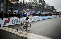 Marianne Vos (NLD/Rabo-Liv) crossing the finish line victoriously<br /> <br /> Zolder CX UCI World Cup 2014