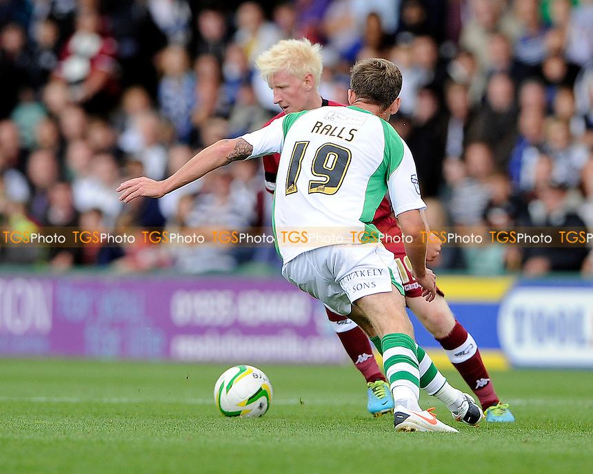 Will Hughes of Derby County and Joe Ralls of Yeovil Town battle for the ball - Yeovil Town vs Derby County - Sky Bet Championship Football at Huish Park, Yeovil, Somerset - 24/08/13 - MANDATORY CREDIT: Denis Murphy/TGSPHOTO - Self billing applies where appropriate - 0845 094 6026 - contact@tgsphoto.co.uk - NO UNPAID USE