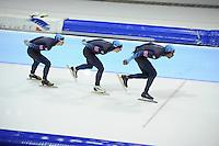SCHAATSEN: HEERENVEEN: Thialf, World Cup, 04-12-11, Team Pursuit USA, Patrick Meek, Jonathan Kuck, Shani Davis, ©foto: Martin de Jong