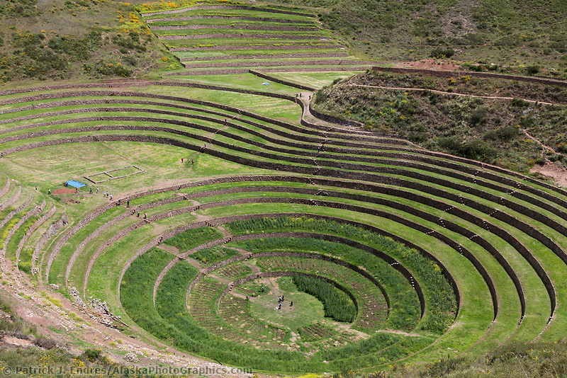 Inca agricultural experimental center in Moray, Peru, South America.