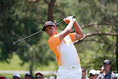 4th June 2017, Dublin, OH, USA;  Rickie Fowler tees off on the second hole during the Memorial Tournament - Final Round at Muirfield Village Golf Club in Dublin, Ohio