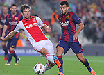 21.10.2014 Barcelona, Spain. UEFA Champions League matchday 3 Group 3. Picture show Pedro (R) and Joel Veltman (L) in action during game between FC Barcelona against Ajax at Camp Nou