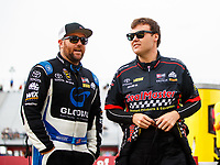 Aug 20, 2017; Brainerd, MN, USA; NHRA top fuel driver Shawn Langdon (left) with teammate Troy Coughlin Jr during the Lucas Oil Nationals at Brainerd International Raceway. Mandatory Credit: Mark J. Rebilas-USA TODAY Sports