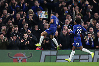 Pedro celebrates scoring Chelsea's opening goal during Chelsea vs Newcastle United, Premier League Football at Stamford Bridge on 12th January 2019