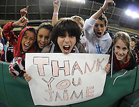 DC United fans supporting DC United forward Jaime Moreno in his last game .  Toronto FC. defeated DC United 3-2 at RFK Stadium, October 23, 2010.