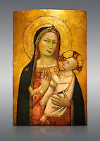 Gothic altarpiece of Madonna and Child by Bernardo Daddi, circa 1340-1345, tempera and gold leaf on wood.  National Museum of Catalan Art, Barcelona, Spain, inv no: MNAC  212806.