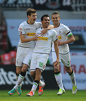 FUSSBALL   1. BUNDESLIGA  SAISON 2012/2013   7. Spieltag   Borussia Moenchengladbach - Eintracht Frankfurt   07.10.2012 Havard Nordtveit, Juan Arango und Filip Daems (v.l., alle Borussia Moenchengladbach) jubeln nach dem 1:0
