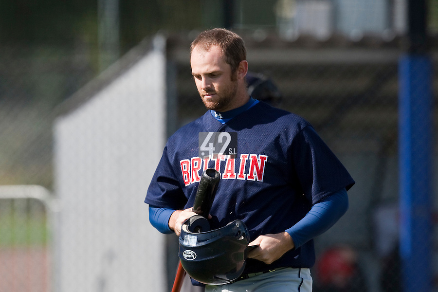 14 September 2009: Firs base Samuel Wiley of Great Britain looks dejected after being called out on strikes during the 2009 Baseball World Cup Group F second round match game won 15-5 by South Korea over Great Britain, in the Dutch city of Amsterdan, Netherlands.