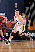 25 February 2012:  FIU guard Carmen Miloglav (24) handles the ball in the second half as the FIU Golden Panthers defeated the University of South Alabama Jaguars, 58-55 (OT), at the U.S. Century Bank Arena in Miami, Florida.