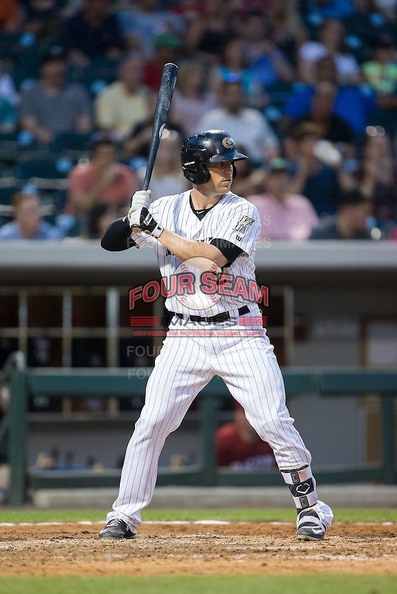 Brett Hayes (2) of the Charlotte Knights at bat against the Lehigh Valley Iron Pigs at BB&T BallPark on June 3, 2016 in Charlotte, North Carolina.  The Iron Pigs defeated the Knights 6-4.  (Brian Westerholt/Four Seam Images)