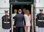 United States President Donald J. Trump, right center, and first lady Melania Trump, right, escort President Andrzej Duda of the Republic of Poland, left center, and his wife, Agata Kornhauser-Duda, left, into the Diplomatic Entrance of the White House in Washington, DC on Wednesday, June 12, 2019. <br /> Credit: Ron Sachs / CNP