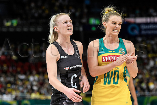 09.10.2016. Qudos Bank Arena, Sydney, Australia. Constellation Cup Netball. Australia Diamonds versus New Zealand Silver Ferns. New Zealands Shannon Francois closely marks Australias Gabrielle Simpson. The Diamonds won the game 68-56.