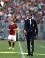 Calcio, Serie A: Roma vs Juventus. Roma, stadio Olimpico, 30 agosto 2015.<br /> Juventus coach Massimiliano Allegri gestures during the Italian Serie A football match between Roma and Juventus at Rome's Olympic stadium, 30 August 2015.<br /> UPDATE IMAGES PRESS/Isabella Bonotto