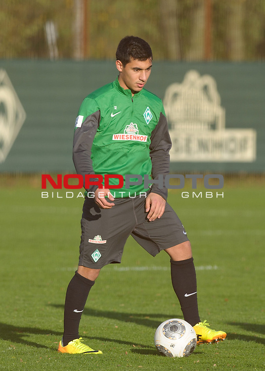 30.10.2013, Trainingsgelaende, Bremen, GER, 1.FBL, Training Werder Bremen, im Bild &Ouml;zkan / Oezkan Yildirim (Bremen #32)<br /> <br /> Foto &copy; nph / Frisch