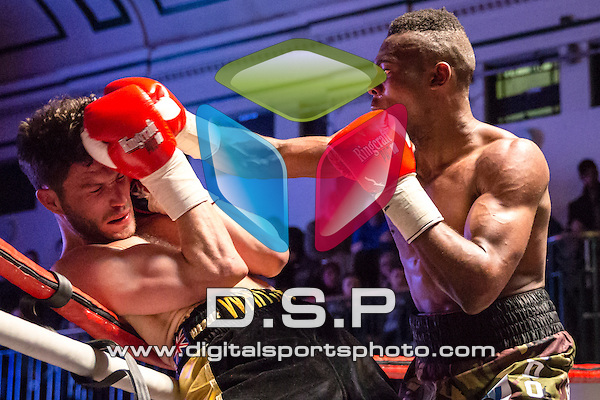 Linus Udofia VS Sonny Whiting - Middleweight Contest. Photo by: Stephen Smith.<br /> <br /> Goodwin Boxing: Paddy's Day Punch Up - Saturday 19th March 2016. York Hall, Bethnal Green, London, United Kingdom.