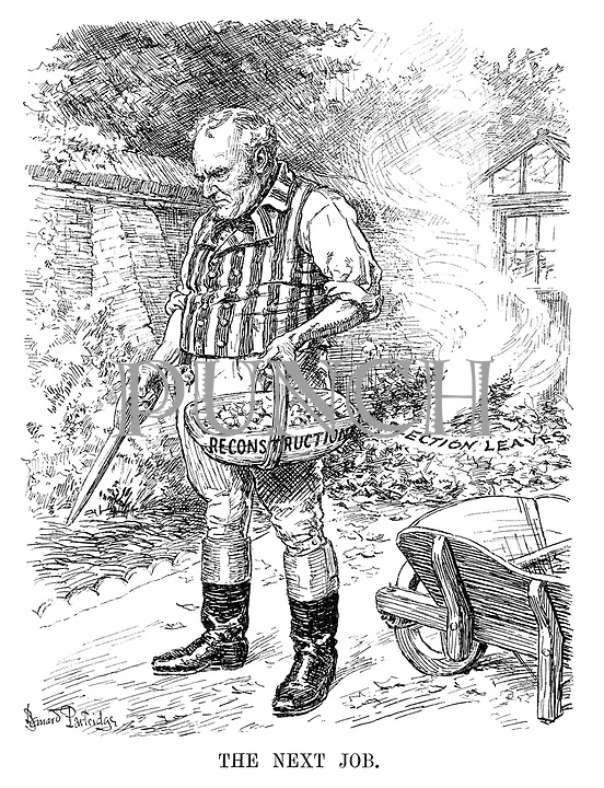 The Next Job. (John Bull prepares the ground for planting flower bulbs of Reconstruction while burning the Election Leaves)