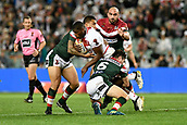 4th November 2017, Sydney Football Stadium, Sydney, Australia; Rugby League World Cup, England versus Lebanon; Jermaine McGillvary of England is tackled by Mitchell Moses of Lebanon