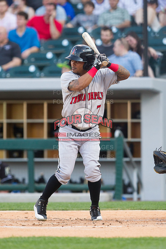Michael Martinez (7) of the Indianapolis Indians at bat against the Charlotte Knights at BB&T Ballpark on May 23, 2014 in Charlotte, North Carolina.  The Indians defeated the Knights 15-6.  (Brian Westerholt/Four Seam Images)