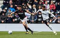 Bolton Wanderers' Will Buckley competing with Derby County's Jayden Bogle <br /> <br /> Photographer Andrew Kearns/CameraSport<br /> <br /> The EFL Sky Bet Championship - Derby County v Bolton Wanderers - Saturday 13th April 2019 - Pride Park - Derby<br /> <br /> World Copyright &copy; 2019 CameraSport. All rights reserved. 43 Linden Ave. Countesthorpe. Leicester. England. LE8 5PG - Tel: +44 (0) 116 277 4147 - admin@camerasport.com - www.camerasport.com